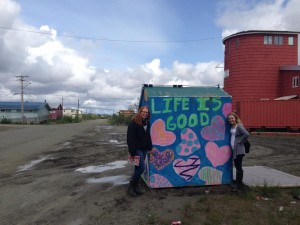 Bethel in a nutshell: big sky, clouds, painted dumpsters, water, mud and wonderful people. Photo courtesy of Claudia Brock