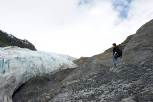 Always the wanderer, TJ hikes up to get a closer look at a glacier in Seward, AK.