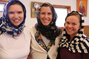 Claudia, Hannah, and I with our head scarves.  Photo courtesy of John O'Keefe.