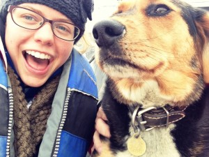 Dog selfies on the boat that took us to Stan's fish camp!