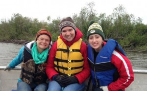 Erin, myself, and Madeline on Tad's boat on an early morning in the Kuskokwim.