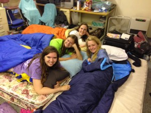 From right: myself, Erin, Catherine, and Mari on our mega bed.