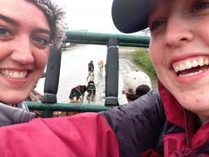 Morgan and I taking a selfie while being pulled by the sled dogs