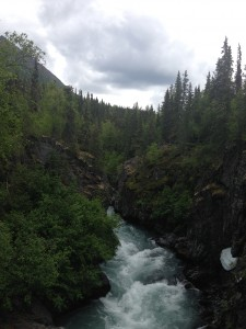 River flowing through the mountains on the Kenai Peninsula.
