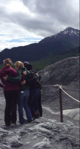 Some of the girls hugging it out and sharing the ily vibe by Exit Glacier.