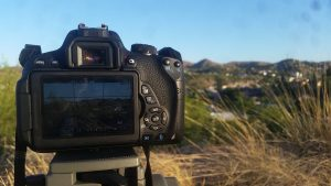 Getting that B-roll on the top of a hill near our house in Nogales, Arizona