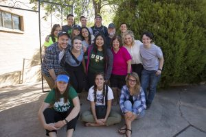 Group picture of Backpack journalism crew and Daniela Vargas